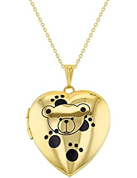 In Season Jewelry Kinder - Halskette Foto Medaillon Teddy Tatzen Herzform 40cm