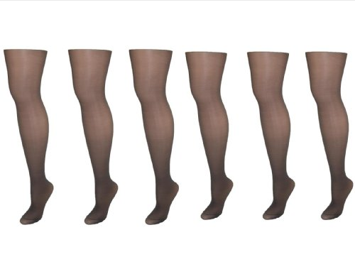 Hanes Alive Women's Nylon Support Reinforced Toe Sheer Tights (Pack of 6)
