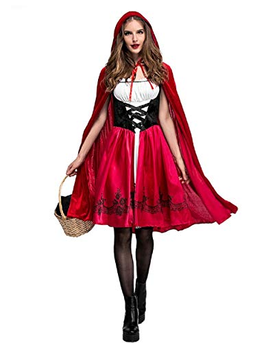 Diudiul Halloween Rotkäppchen-Kostüm für Damen Kinder Little Red Riding Hood Party Cosplay Kostüm (Kinder Little Red Riding Hood Kostüme)