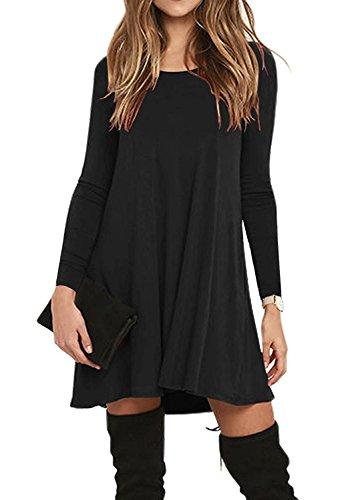 LILBETTER Frauen Langarm Tasche Casual Loose T-Shirt Kleid Schwarz