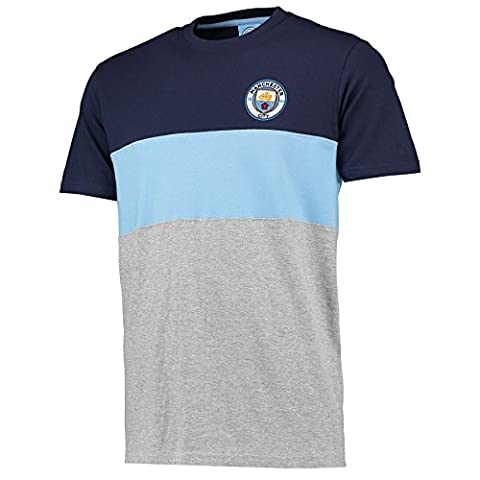 Manchester City Mens Gents Football Classic Block T Shirt Tee