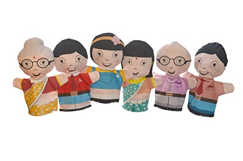 Cuddly Toys Family Set of Flat Hand Puppets (6pcs) Parents, Kids and Grandparents