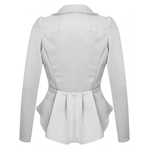 Ladies One Button volanté Peplum Blazer EUR Taille 36-42 Blanc