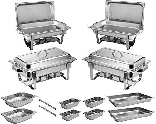 ZORRO - 4x Chafing Dish Speisewärmer Profi Set 15-Teilig in Gastro Qualität Warmhaltebehälter Edelstahl Buffet-Set Chaffing Dish
