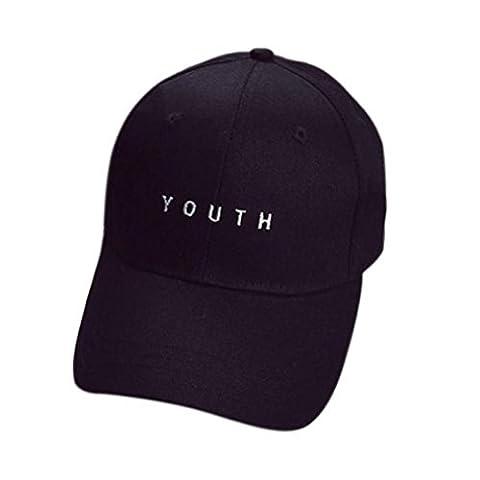 Tonsee Fashion Embroidery Baseball Cap Boys Girls Snapback Hip Hop Flat Hat (Black)
