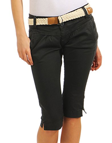 Fresh Made Damen Capri Chino Shorts LFM-134 3/4 Hose inkl. geflochtenem Gürtel dark grey M