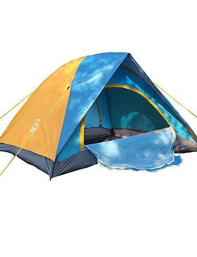 ZQ Zelt (blau, 3bis 4Personen)–-Feuchtraum/Wasserdicht/Regen/A Test von Insekten, Blau+gelb