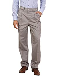 Bottom's Cotton Chinos Two Pleated Cartini LightGrey Colored Trouser For Men