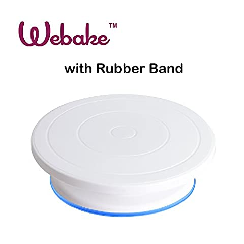 Webake 27,9cm gâteau Turntable Décoration de gâteaux tournante support avec anneau en caoutchouc–Blanc