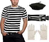 Islander Fashions para Hombre Negro Raya Blanca Camiseta Beret Hat Tirantes Guantes Franc�s Mime 4 Piezas Set 2X Grande