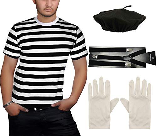 Islander Fashions Herren Schwarz Wei� Streifen T-Shirt Baskenm�TZE Hut Hosentr�ger Handschuhe Franz�sisch Mime 4 St�ck Set 2X Large (Mime Kostüm Leicht)