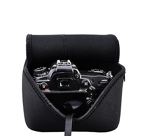 Maxsimafoto–mfc1Noir Housse en néoprène pour Appareil photo pour Canon 60D 70D 80D 750D 760d/700D/650D/avec 18–135mm, 15–85mm, 17–85mm, 18–55mm/Nikon D3300D32005500D/D5300/D7100/D7200D500avec 18–105mm, 18–140mm, 18–200mm, 16–85mm, 16–80mm, 18–55mm ou lentilles de taille