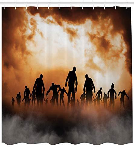 ABAKUHAUS Duschvorhang, Zombies Dead Men Body Walking im Untergang Mist im Dunklen Nachthimmel Haunted Decor, Blickdicht aus Stoff inkl. 12 Ringe für Das Badezimmer Waschbar, 175 X 200 ()