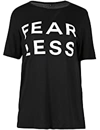 Be Jealous Womens Oversized Fear Less Printed Baggy Loose Fit Short Sleeve Tee Shirt Top