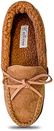 Women Moccasin Slippers Warm Comfort Cozy Soft House Shoes with Fuzzy Plush Fur Lining Casual Slip On Shoe Sli
