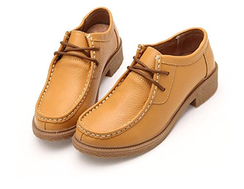 LDMB Womens runde Zehe flachbodige Schuhe Niedrig, um atmungsaktives Leder einzelne Schuhe zu helfen Yellow