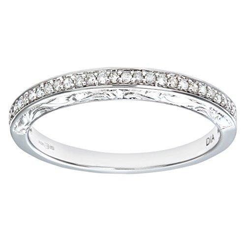 Naava PR07539B(K) - Anillo de mujer de oro blanco (9k) con 29 diamantes (talla: 10)