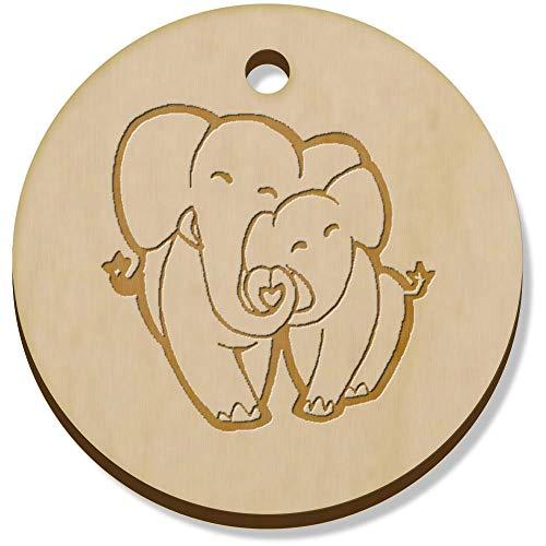 Azeeda 11 x 34mm 'Amor Elefantes' Colgante de Madera (PN00052074)