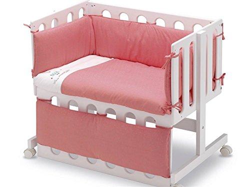 Pirulos 24911603 - Vestidura Minicuna, diseño unicornio, algodón, color blanco y fresa