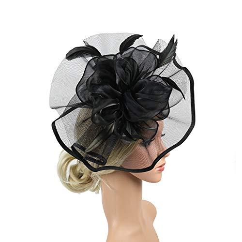 QIMANZI Fascinator Hüte mit Feder Blumen Haar Clip Haarreif Haar Accessoire Netz-Mütze Schleier Tea Party Hochzeit Kirche Haarschmuck Kopfschmuck Kopfbedeckung für Frauen(A Schwarz)