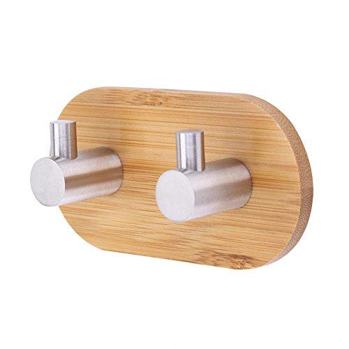 Bambus Klebehaken, Edelstahl, massiv Dekorative Bambus Rack Reling-Tasche Wand Aufhänger Haken für Home Kitchen Mäntel Mützen Schlüssel Handtuch -