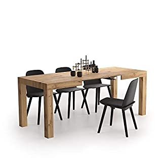 Mobili Fiver, Table Extensible Cuisine, First, Bois Rustique, 120 x 80 x 76 cm, Made in Italy