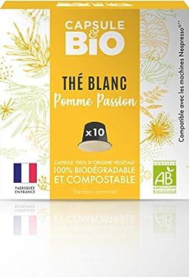 Capsulebio - Thé Blanc Pomme Passion BIO- 10 capsules compatibles Nespresso® -Capsule biodégradable, compostable - Fabriqué en France