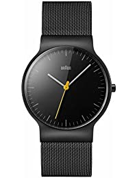 Braun Men's Quartz Watch with Black Dial Analogue Display and Black Stainless Steel Bracelet BN0211BKMHG