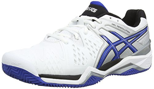 Asics - Gel-Resolution 6 Clay, Scarpe Da Tennis da uomo White/Blue/Silver 142