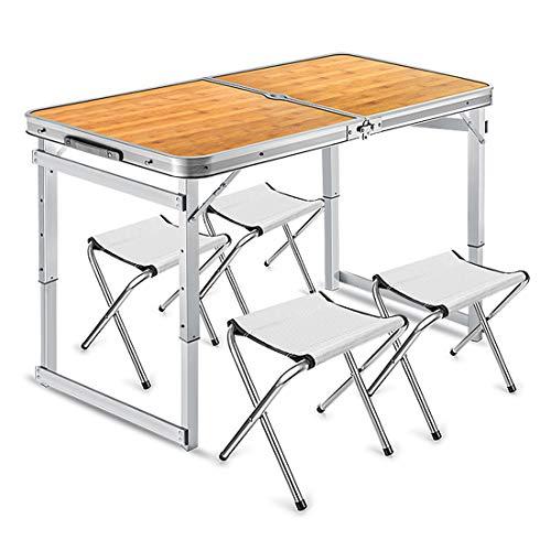 Einstellbare Camping Tisch Picknick Klapp Silber und Camping Möbel Set mit 4 Stühlen Leichte Klapp Garten Balkon Arbeit Aluminium,Orange