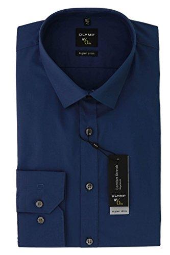 Herren Hemd No. 6 Super Slim Fit Langarm, blau, M (40)
