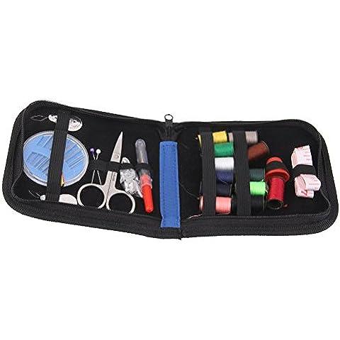 Pixnor Agujas de coser Kit Portable hogar coser Kit hilo Tijeras establece con cremallera azul bolsa de viaje y uso de emergencia
