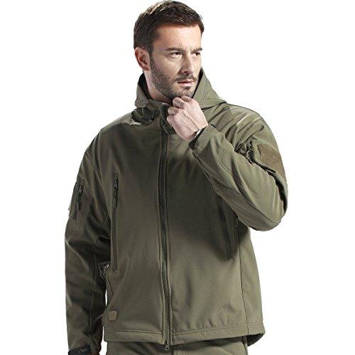 FREE SOLDIER Giacca da Uomo con Cappuccio, Militare, per Caccia, strategica, in Softshell (Verde,L)