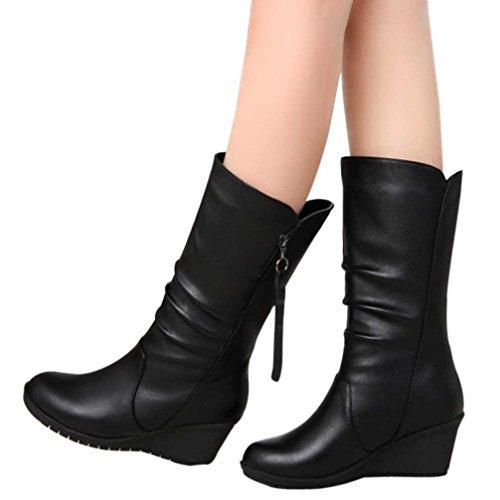 taottao Frauen Herbst Winter Warm Schuhe Damen Keile High Heel Stiefelette Reißverschluss Stiefel, Gummi, schwarz, 39 (Ferse Kniehohe Reißverschluss-plattform)