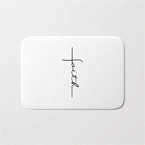 (JIEKEIO Faith Cross Bathroom Bath Door Mat Rug 23.6(L) X15.7(W) inch,40cmx60cm)