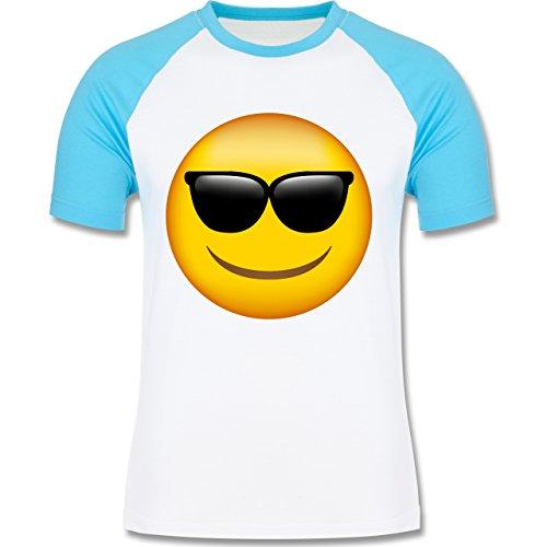 Shirtracer Comic Shirts - Emoji Sonnenbrille - Herren Baseball Shirt Weiß/Türkis