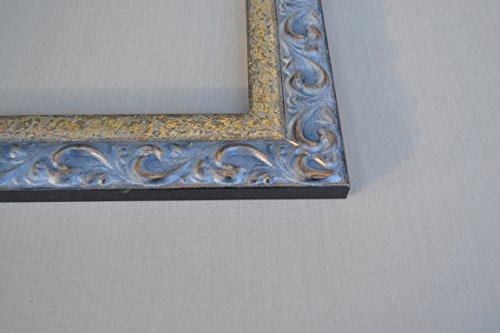 Bilderrahmen Würzburg - Braun-Gold mit Grau-Blauer Patina 50x70cm 70x50cm hier mit entspiegeltem Kunstglas -