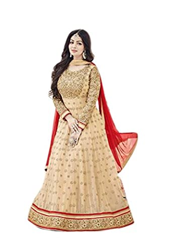 Shoppingover Indian Bollywood Women's Party wear Beige Anarkali Suit in