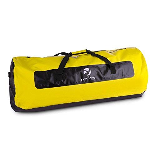 Yukatana Quintoni 120 • Seesack • Packsack • Sporttasche • Trekking-Rucksack • Travel-Reiserucksack • 120 Liter Volumen • wasserdicht • geruchsdicht • längs • verstärkter Boden • schwarz-gelb -