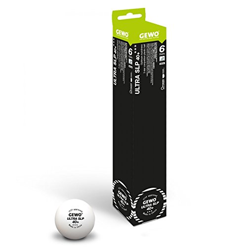 GEWO Ball Ultra SLP 6er ohne Naht/Maximale Rundheit Tischtennisball, Weiß, 40