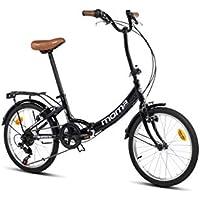 Moma bikes First Class Nera, Bicicletta Pieghevole Unisex Adulto, Nero, Unic Size