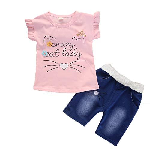 LEXUPE Kleinkind Baby Mädchen Kurzarm Cartoon Print Tops + Denim Shorts Set (80 S Outfits)
