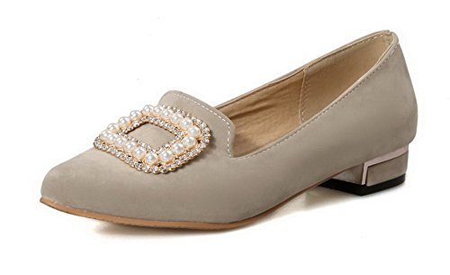 VogueZone009 Femme Tire Pointu à Talon Bas Suédé Couleur Unie Chaussures Légeres Beige
