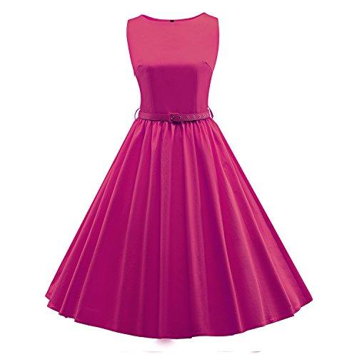 LUOUSE 'Audrey' Hepburn Stil Vintage Clarity Kleid im (50er Rosa Jahre Kleid)