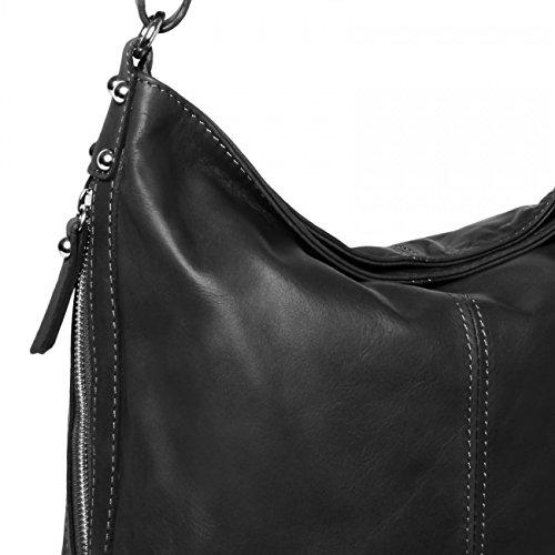 IN Umhängetasche Damen Ledertasche schwarz TL673 Farben ITALY Leder MADE CASPAR Nappaleder viele qwxadYt5Hn