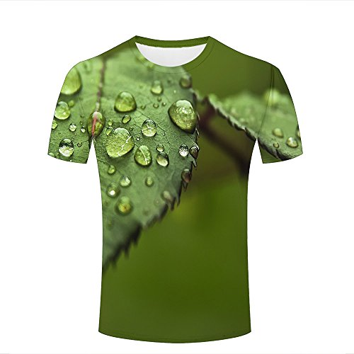 ouzhouxijia Mens T-Shirts 3D Printed Photography/Water Drops/Leaves Graphic Couple Tees B