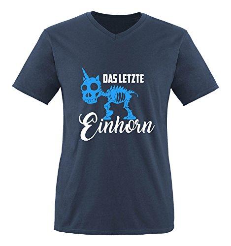 Comedy Shirts - Das letzte Einhorn - SKELETTE - Herren V-Neck T-Shirt - Navy / Weiss-Blau Gr. S (T-shirt Out Letzte)
