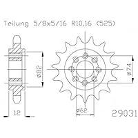 Piñón 21dientes acero serie 525División (5/8x 5/16) para Gilera 800GP zapm551002007–2008