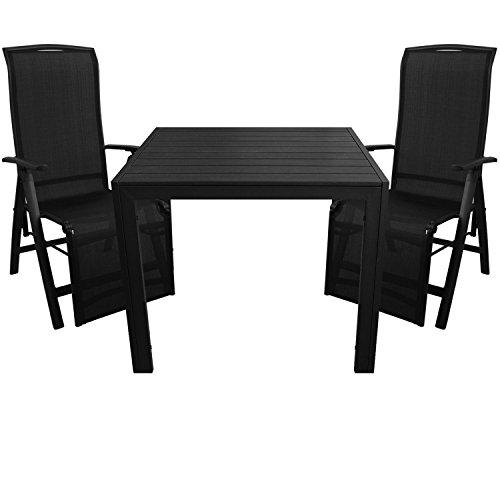 3tlg. Gartengarnitur Aluminium Gartentisch 90x90cm mit Polywood Tischplatte Klappsessel 5 Pos. 2x1 Textilen Schwarz