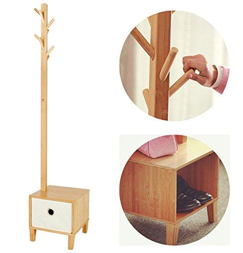 Garderobenständer Kleiderständer Garderobe mit Ablage Schuhablage Schublade Sitzbank Stabil Standgarderobe Bambus Multizweck 178cm Hoch abziehbare Schublade